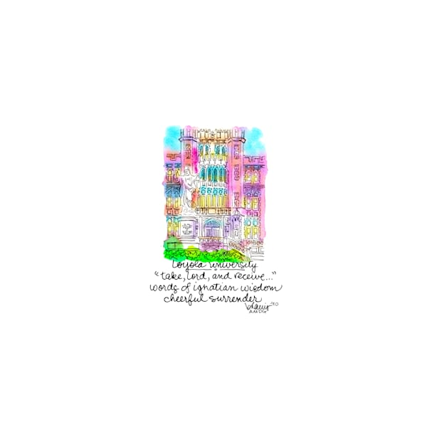 loyola university, new orleans:  tiny haiku art prints in cheerful watercolor available for purchase online