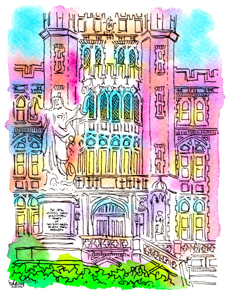 loyola university, new orleans:  fine art prints in cheerful watercolor available for purchase online