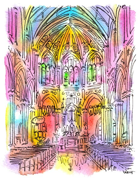 holy name of jesus church, new orleans:  fine art prints in cheerful watercolor available for purchase online