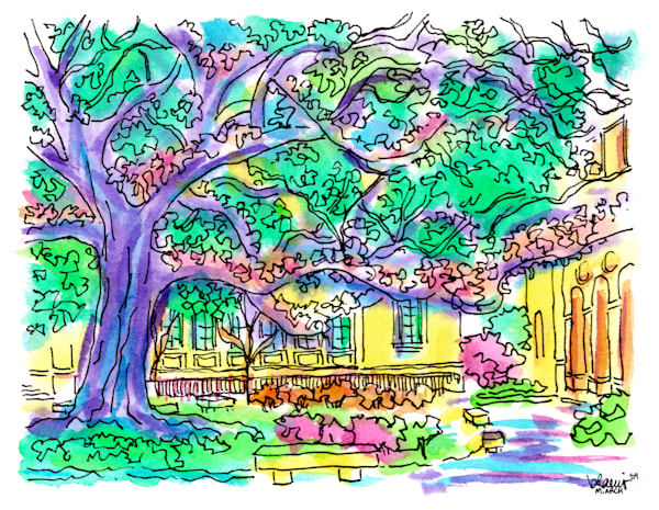 """""""the quad,"""" louisiana state university:  fine art prints in cheerful watercolor available for purchase online"""