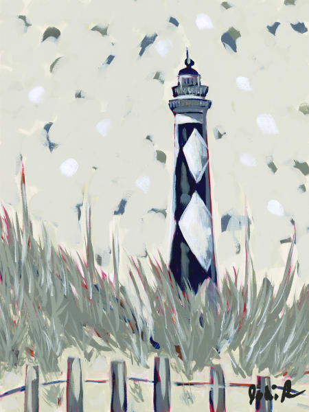 Lighthouse blue, a fine art print of a lighthouse in the sand.