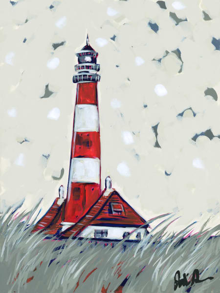 Lighthouse Red is a fine art print of a red and white striped lighthouse.