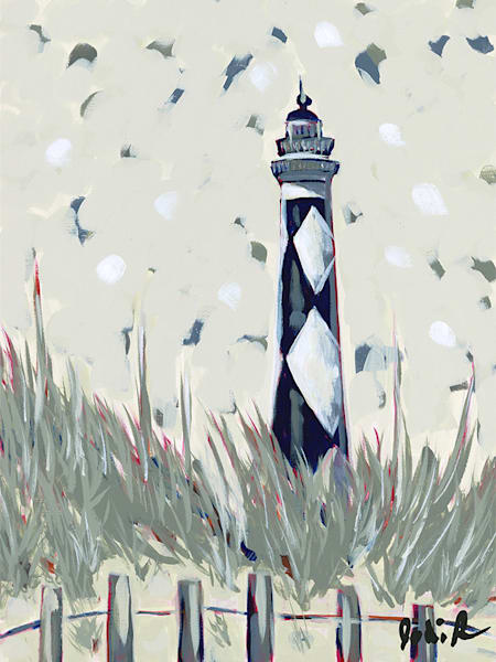 Lighthouse Blue is a painting of a coastal scene of a blue and white checked lighthouse with tall grasses and a sandy path.