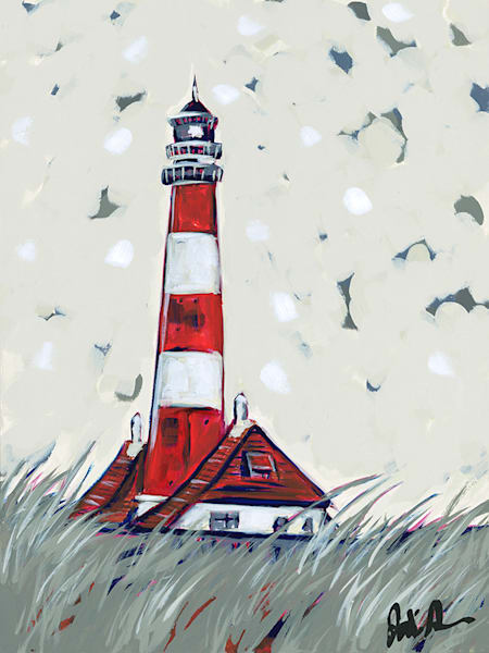 Lighthouse Red is an original acrylic painting of a coastal scene.
