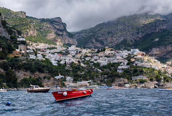 Red boat, Positano, Amalfi Coast, Italy