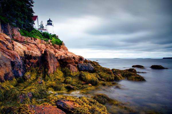 Clouds over Bass Harbor Head Light - Maine lighthouses fine-art photography prints.