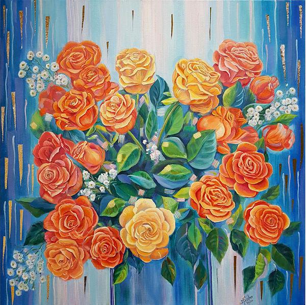 Love In Orange, Whyte, Red, Yellow / Gift Of Joy, Dream, Love , Hope (Orange Panel) Art | Art Impact® International Inc