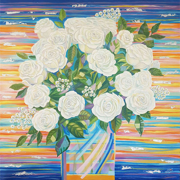 Love In Orange, Whyte, Red, Yellow / Gift Of Joy, Dream, Love , Hope (Whyte Panel) Art | Art Impact® International Inc