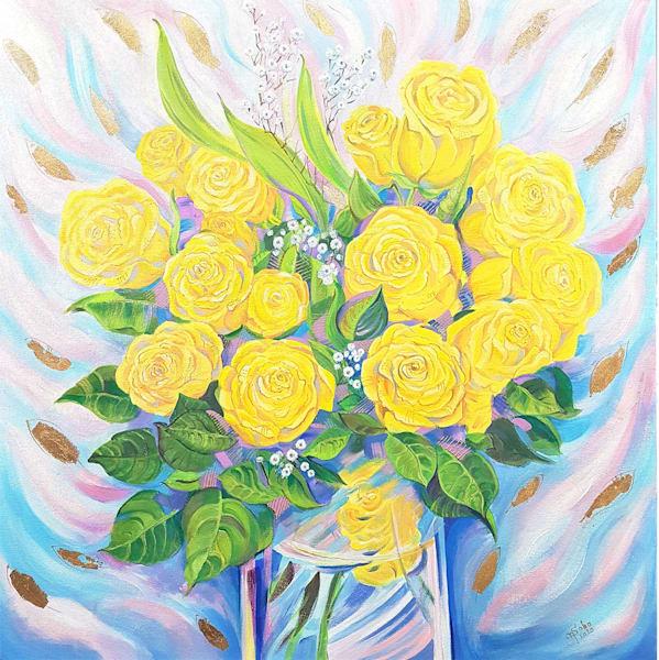 Love In Orange, Whyte, Red, Yellow / Gift Of Joy, Dream, Love , Hope (Yellow Panel) Art | Art Impact® International Inc