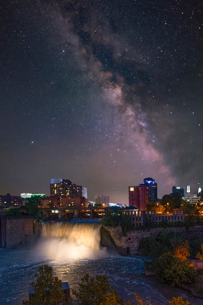 Lower Falls at Night + Milky Way (composite)