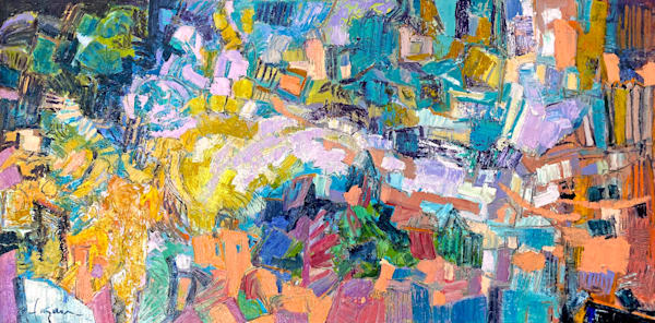 Colorful abstract expressive original painting