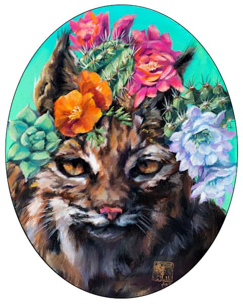 Cactus Critters: Bobcat In Bloom Art | Ans Taylor Art