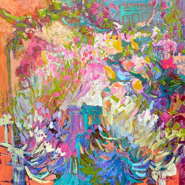 Pink Purple Abstract Oil Painting, Original Art by Dorothy Fagan