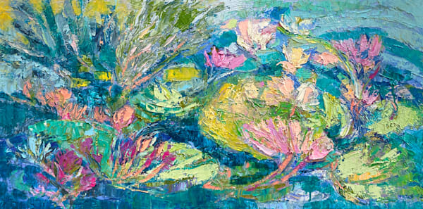 Water Lilies Oil Painting, Original Art on Canvas by Dorothy Fagan