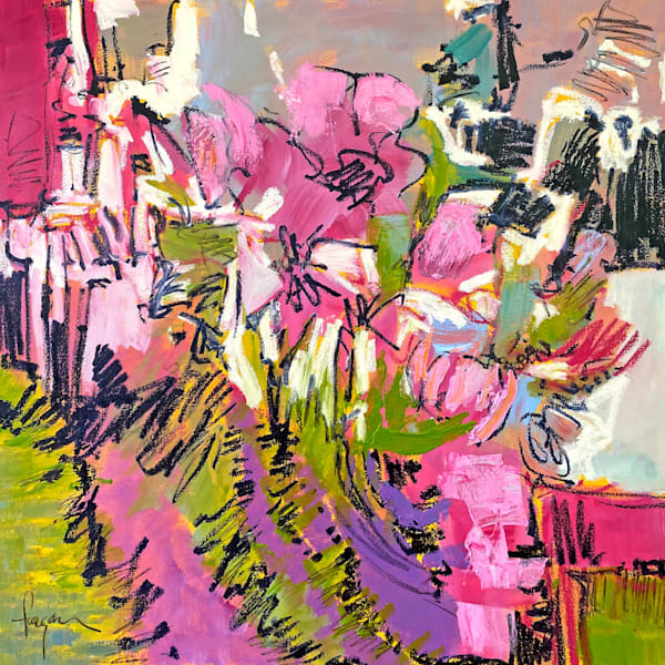 Pink green and black modern floral abstract painting