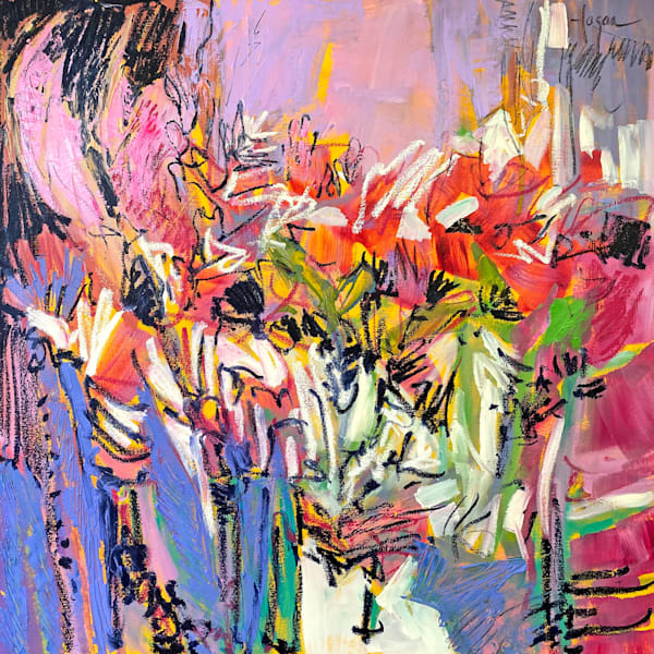 Pink purple black and red modern abstract floral painting