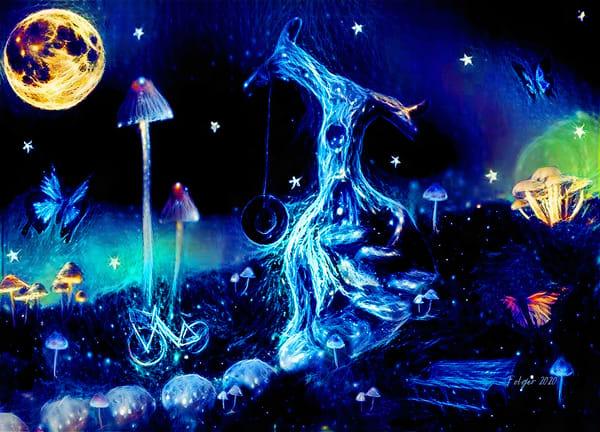 Tree Fairy House Celestial Art   Jacob Folger Artist
