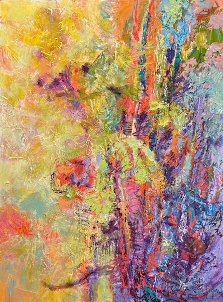 Gold and Mauve Abstract Painting