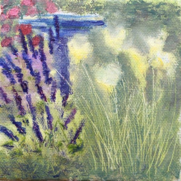 Yellow Siberian Irises And Blue Salvia By The Cobalt Blue Birdbath  Art   Marie Stephens Art