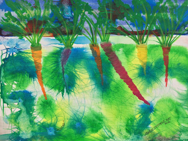 Rooted Carrots, Watercolor And Ink On Paper, Original Painting Art   Marie Stephens Art