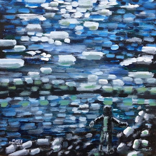 Skipping Rocks On The Water, Original Acrylic On Canvas Art   Marie Stephens Art