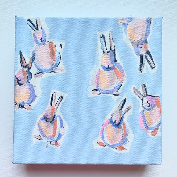 Mini Bunnies   Hoppy   6 X 6    Lesli DeVito