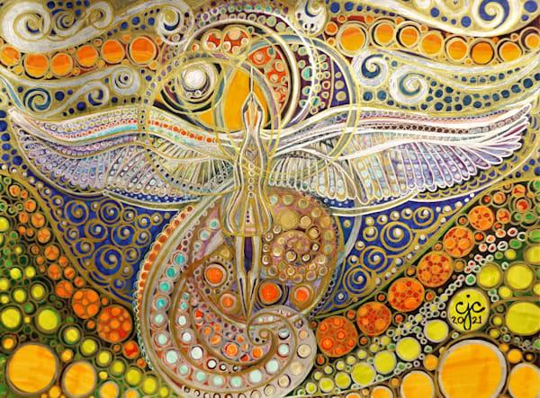 Blue Heron Flies Above Art   Cynthia Christensen Art