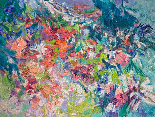 Textural abstract blooming garden path painting