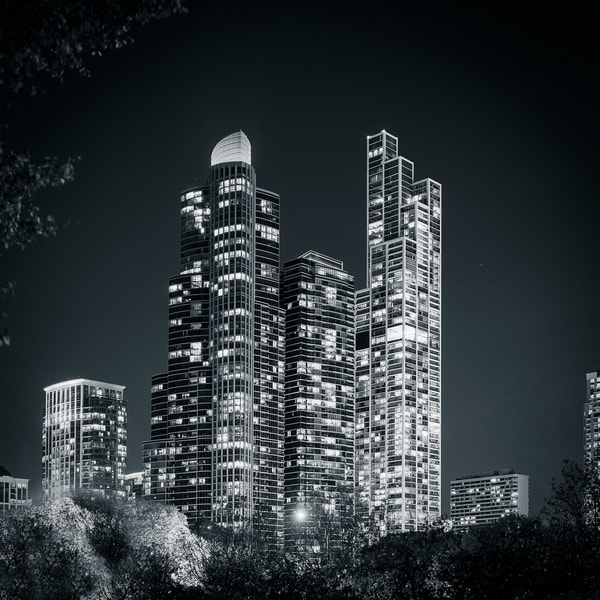 The Grant Luxury Condos in Chicago Black and White - Chicago Skyline Wall Art
