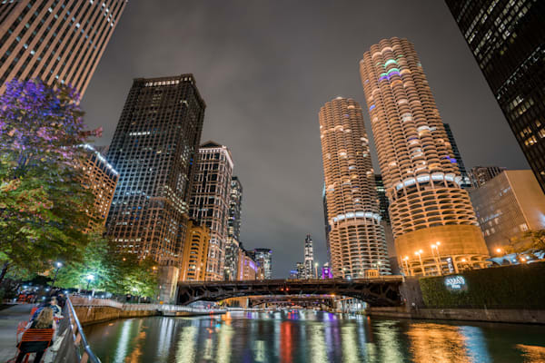 Marina Towers And The Chicago River At Night Photography Art   William Drew Photography