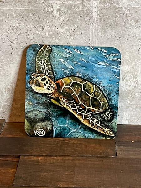 Sea Turtle 1 Coaster | Water+Ink Studios