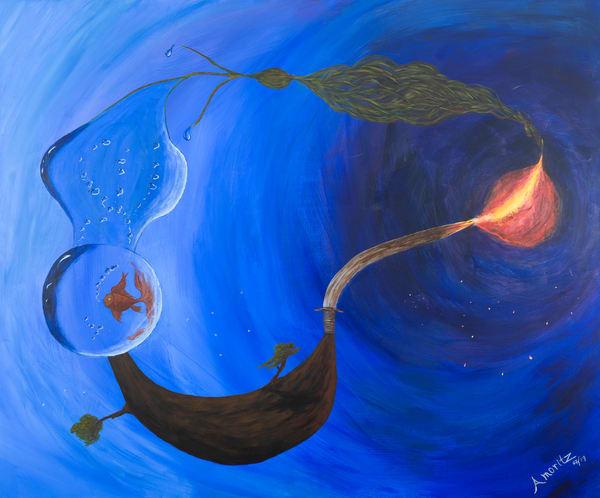 Element harmony Surrealist painting by Maryse Gauthier 07-2019