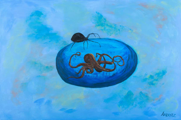 Patient Expansion Surrealist painting by Maryse Gauthier 08-2019