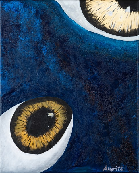 Planet Eyes Surrealist painting by Maryse Gauthier 02-2019