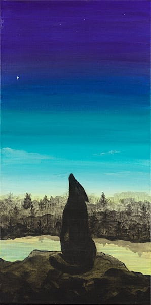 """Wolf 2"" fine art print by Leanne Kalihwiyostha Thompson."