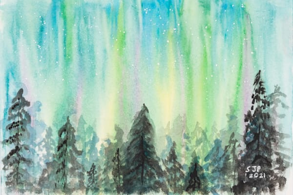 ASquareWatermelon - Art, watercolor Northern Lights Forest