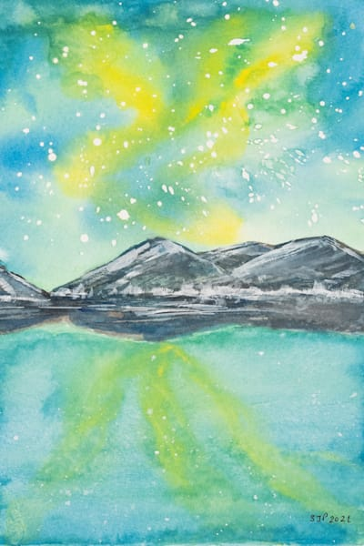 ASquareWatermelon - Art, watercolor Northern Lights Lake