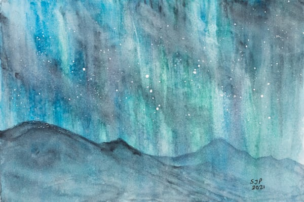 ASquareWatermelon - Art, watercolor Northern Lights Stormy