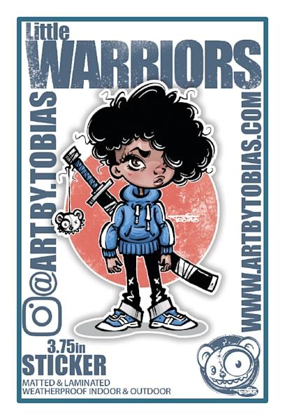 Sticker Blue Warrior   Art By Tobias