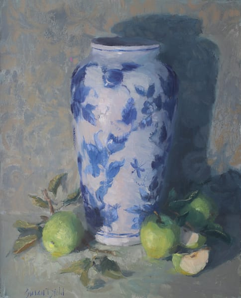 Green Apples With Vase Art | Diehl Fine Art