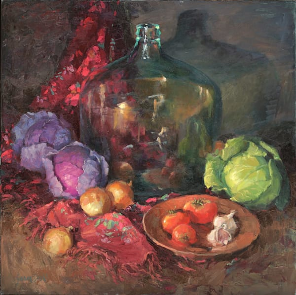 Red Scarf And Cabbage Art | Diehl Fine Art