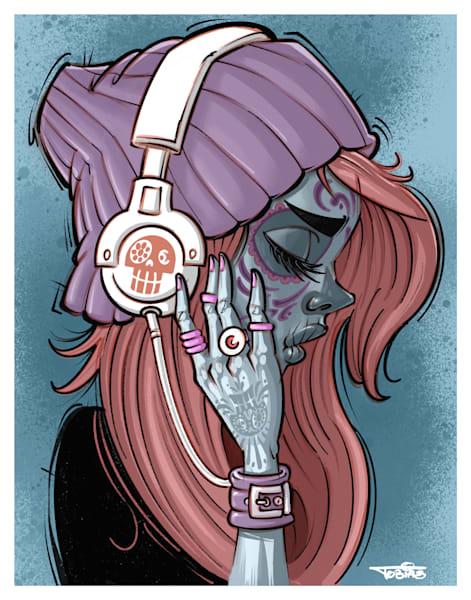 Sugar Skull Tunes Art | Art By Tobias
