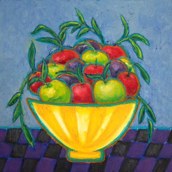 Apples And Plums In A Bowl Art | Norlynne Coar Fine Art