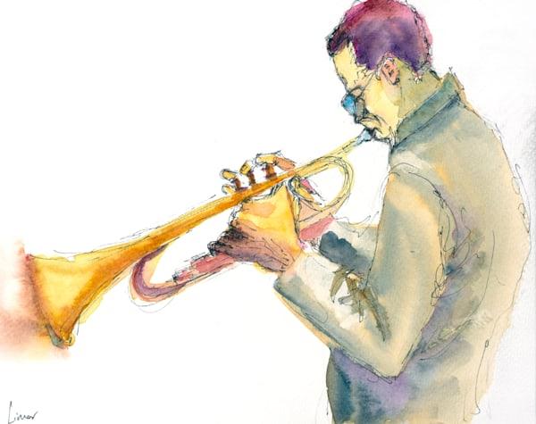 Older Trumpet Player | Limor Dekel Fine Art