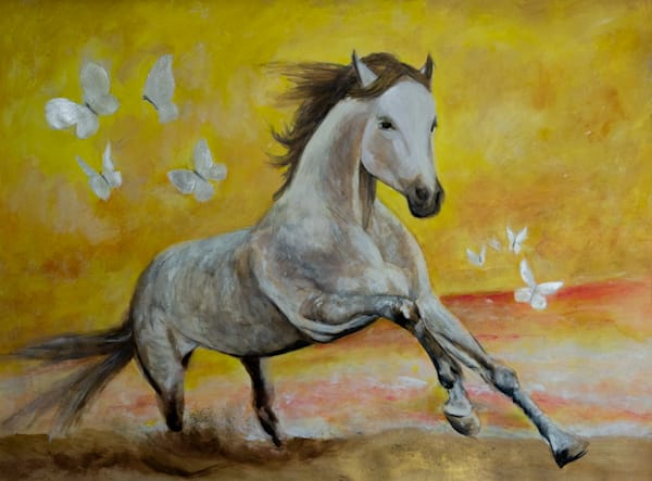 Wild Sunset Horse And Butterflies Art | Blac Rhino Art Group