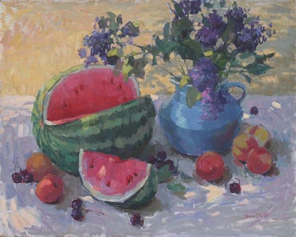 Watermelon And Lilacs Art | Diehl Fine Art