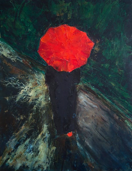 Woman with Red Umbrella 2