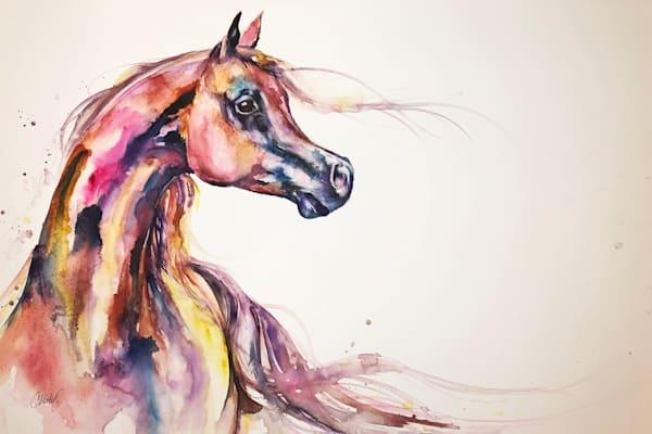 Chestnut Arabian Stallion original watercolor painting on canvas.
