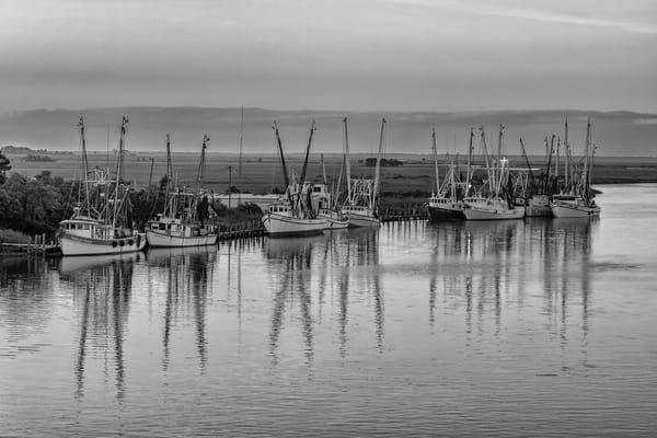 Darien Shrimp Boats B&W