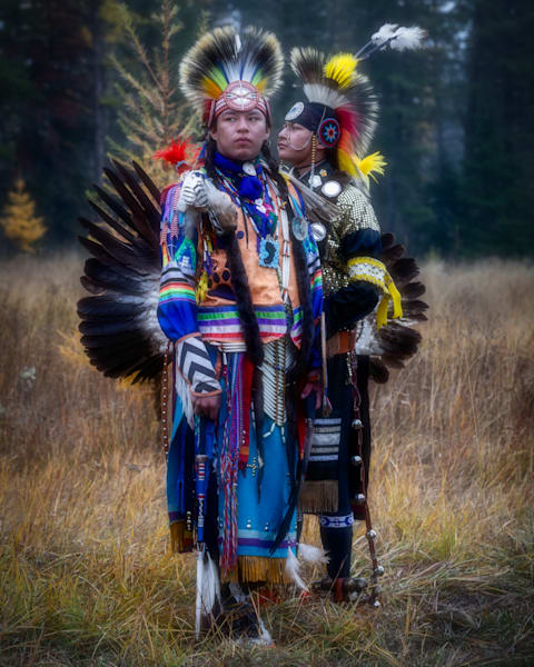 Young Blackfoot Native American Dancers in Traditional Clothing 3